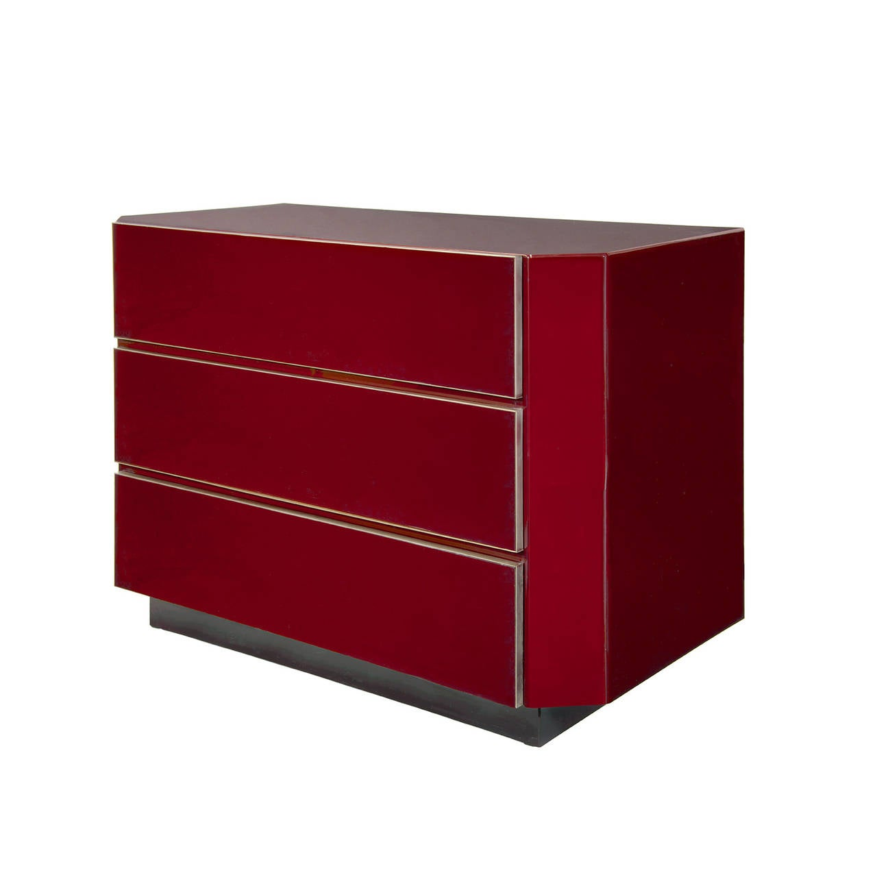 French 1970s Burgundy Red Lacquer Chest Attributed to Maison Jansen For Sale