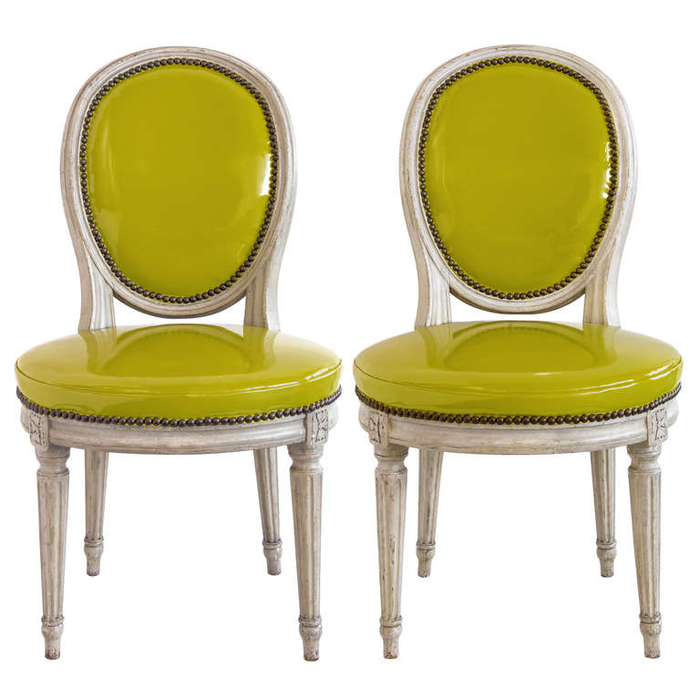 Pair of Louis XVI Grey Painted Oval Back Side Chairs at