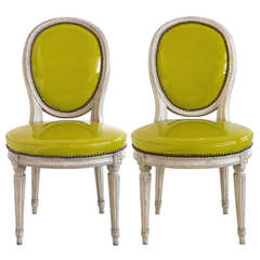 Pair of Louis XVI Grey-Painted Oval Back Side Chairs