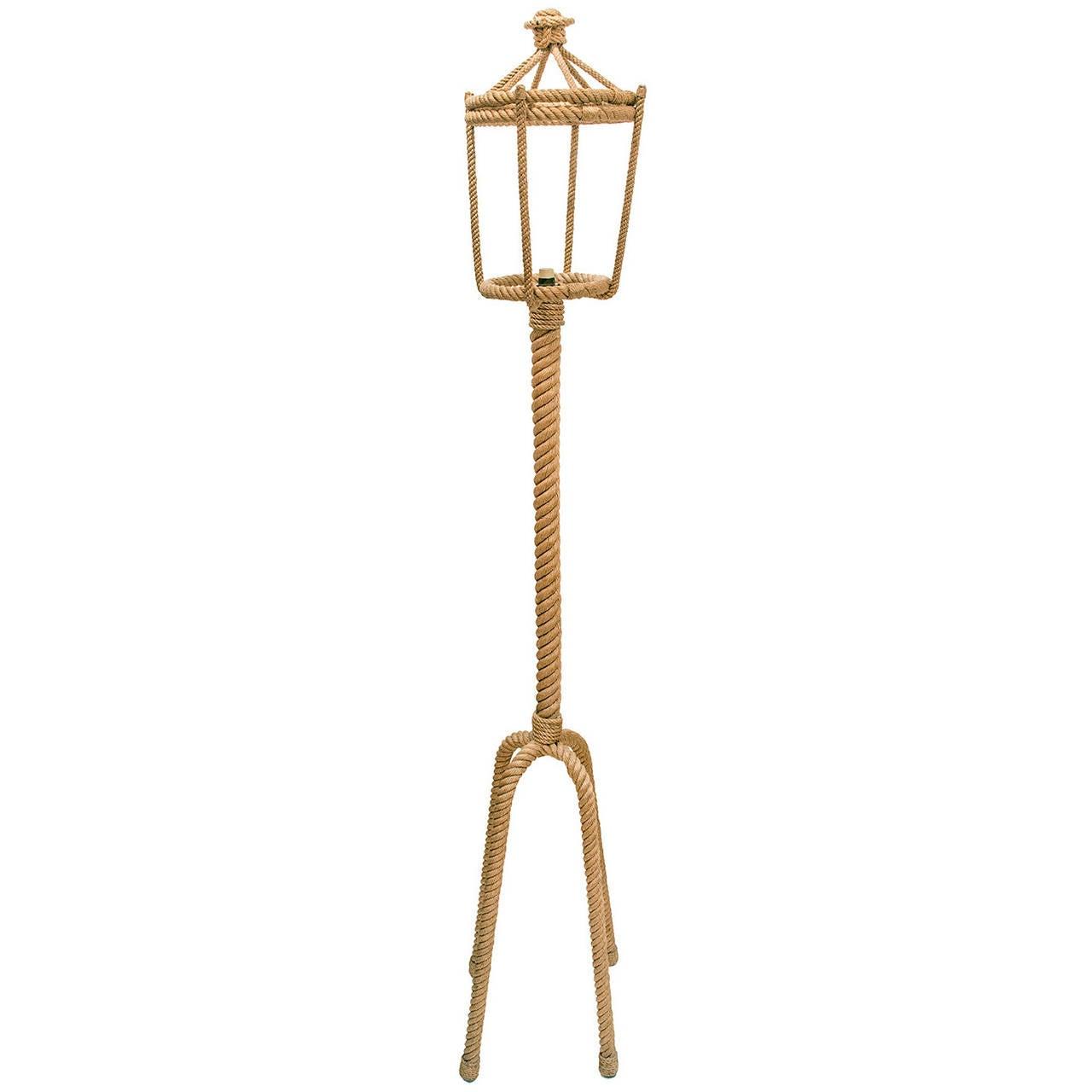 Audoux Minet 1960s Lantern Shape Cord Standing Lamp For Sale