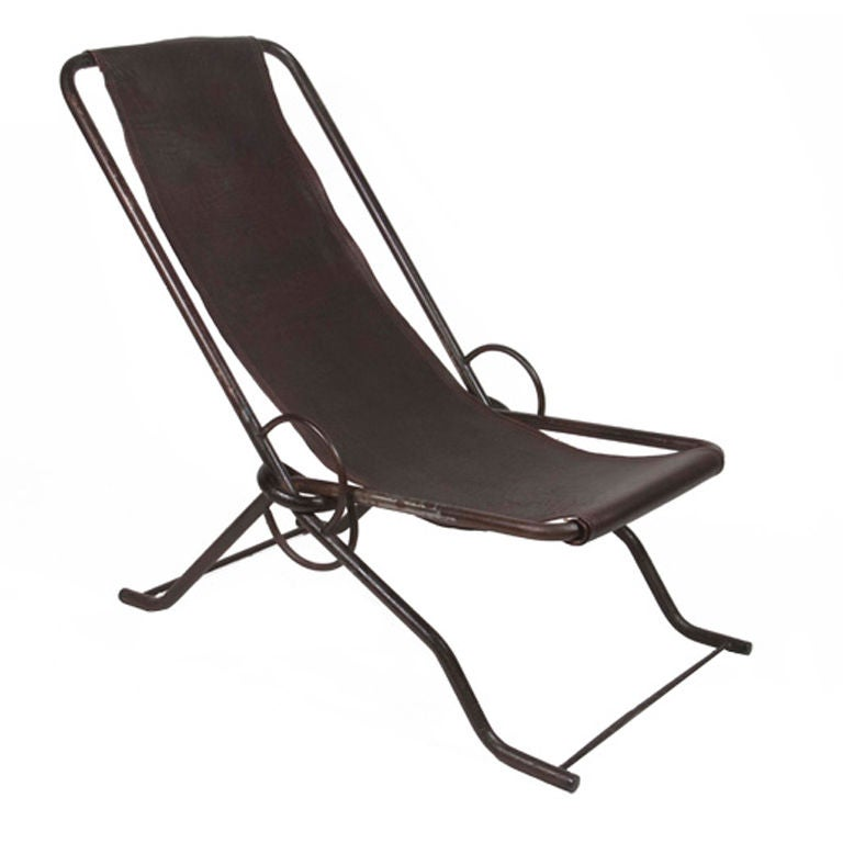 French 19th Century Steel and Leather Seaside Reclining