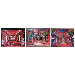 Set of Three 1960s Opera Decor Gouache Drawings, by Jacques André Brégère