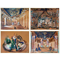 Set of Four 1960s Opera Decor Gouache Drawings, by Jacques Andre Brégère