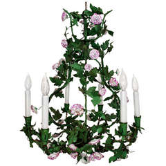 Late 19th Century Green Tole Chandelier with Pink Porcelain Flowers