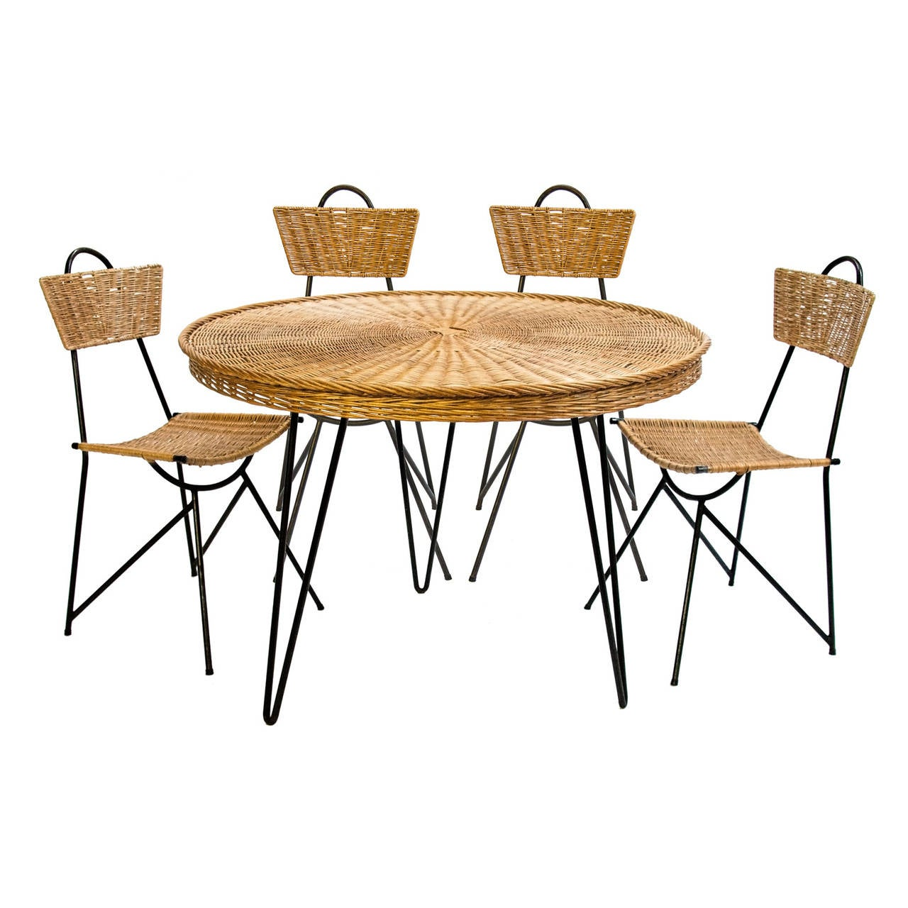 1950s Black Metal and Rattan Dining Set in the style of Franco Albini For Sale