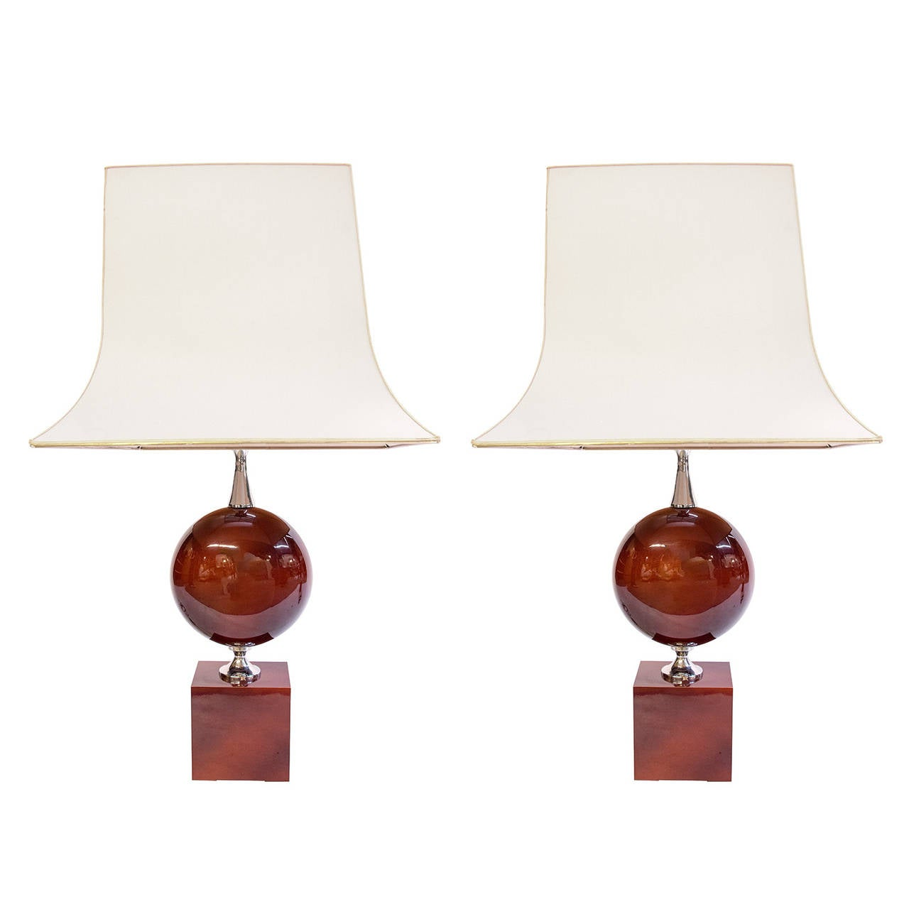 Pair of Red Lacquer Lamps by Philippe Barbier, France, 1970s