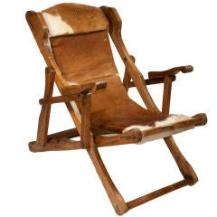 Alpine Cow Hide and Wood Framed Reclining Chair
