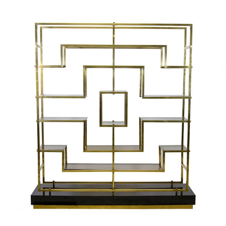 Geometric Brass and Glass Bookcase by Romeo Rega at 1stdibs