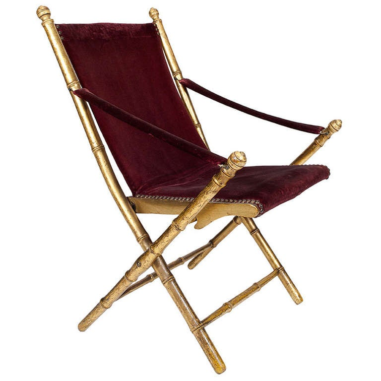 19th Century Giltwood Simulated Bamboo Folding Campaign Chair For Sale at 1st