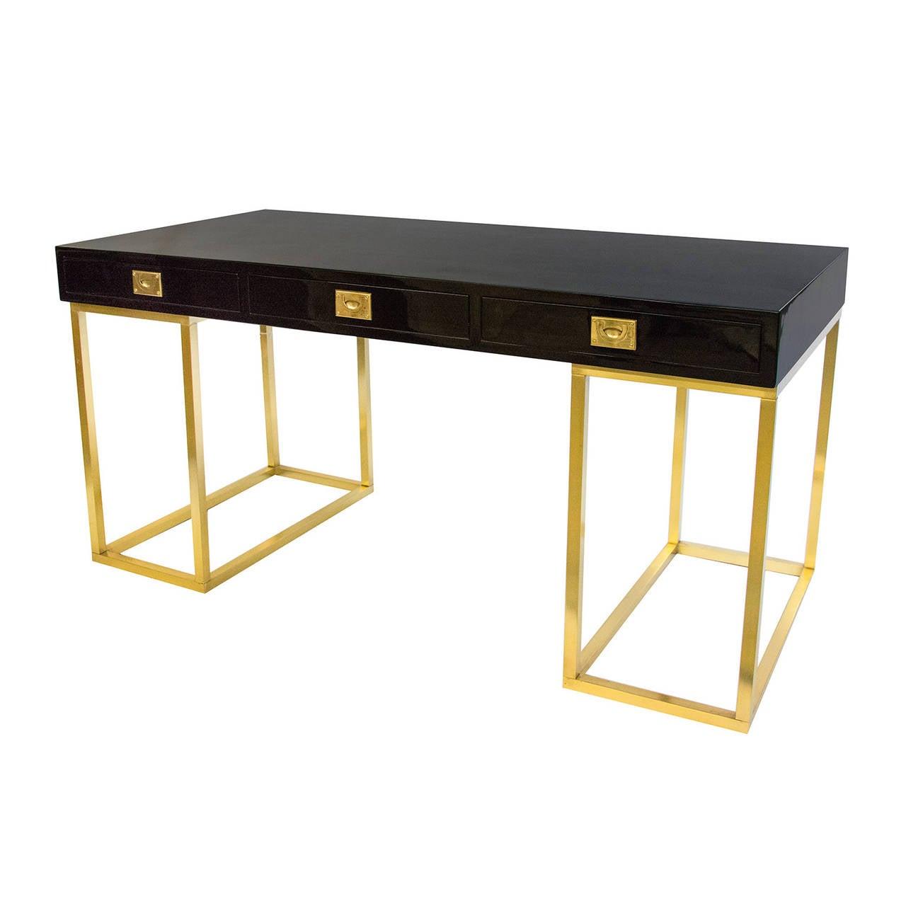 Very rare black lacquer desk on a brass pedestal by Guy Lefevre for Maison Jansen, circa 1970s.