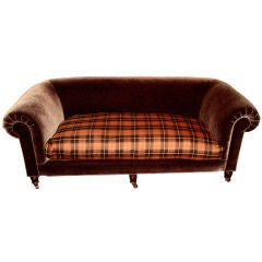 19th C. English Brown Mohair Velvet and Tartan Upholstered Sofa