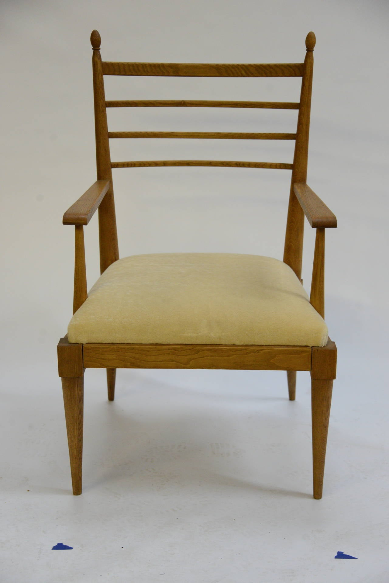 French Pair of Vintage Oak Armchairs by Jean Royère For Sale