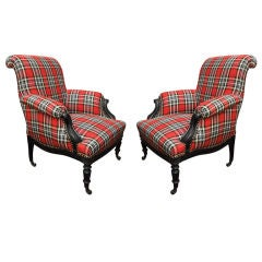 A Pair of Napoleon III Ebonized and Cotton Tartan Bergeres