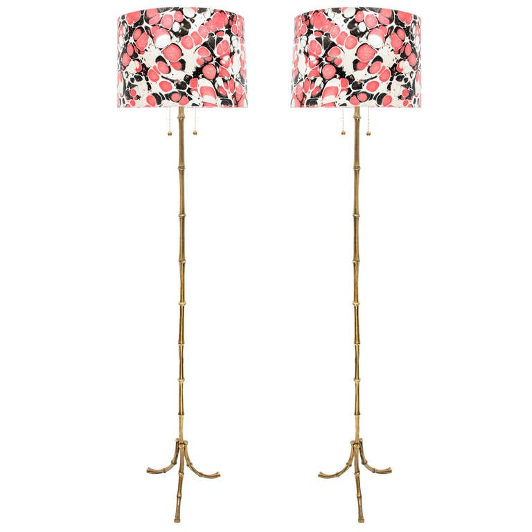 Pair Of 1950s Gilt Bronze Bamboo Bagues Floor Lamps By