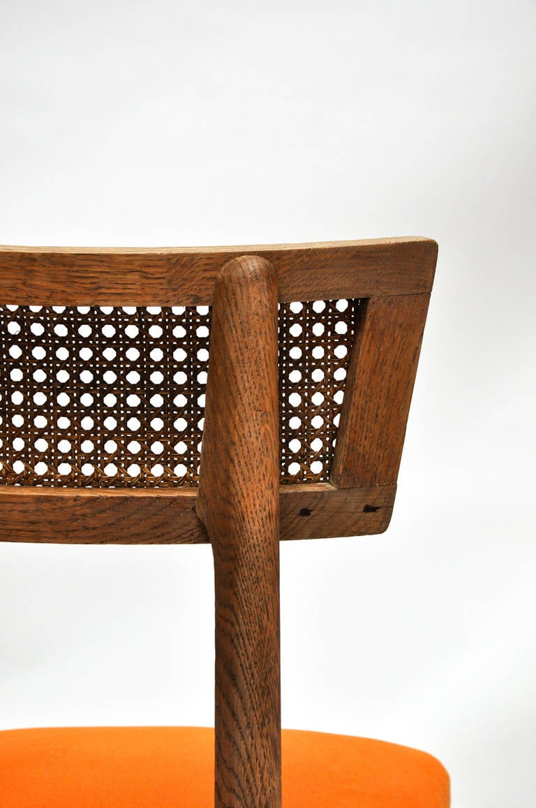 Mid-20th Century Set of Six Cerused Oak, Caned and Orange Mohair Dining Chairs For Sale