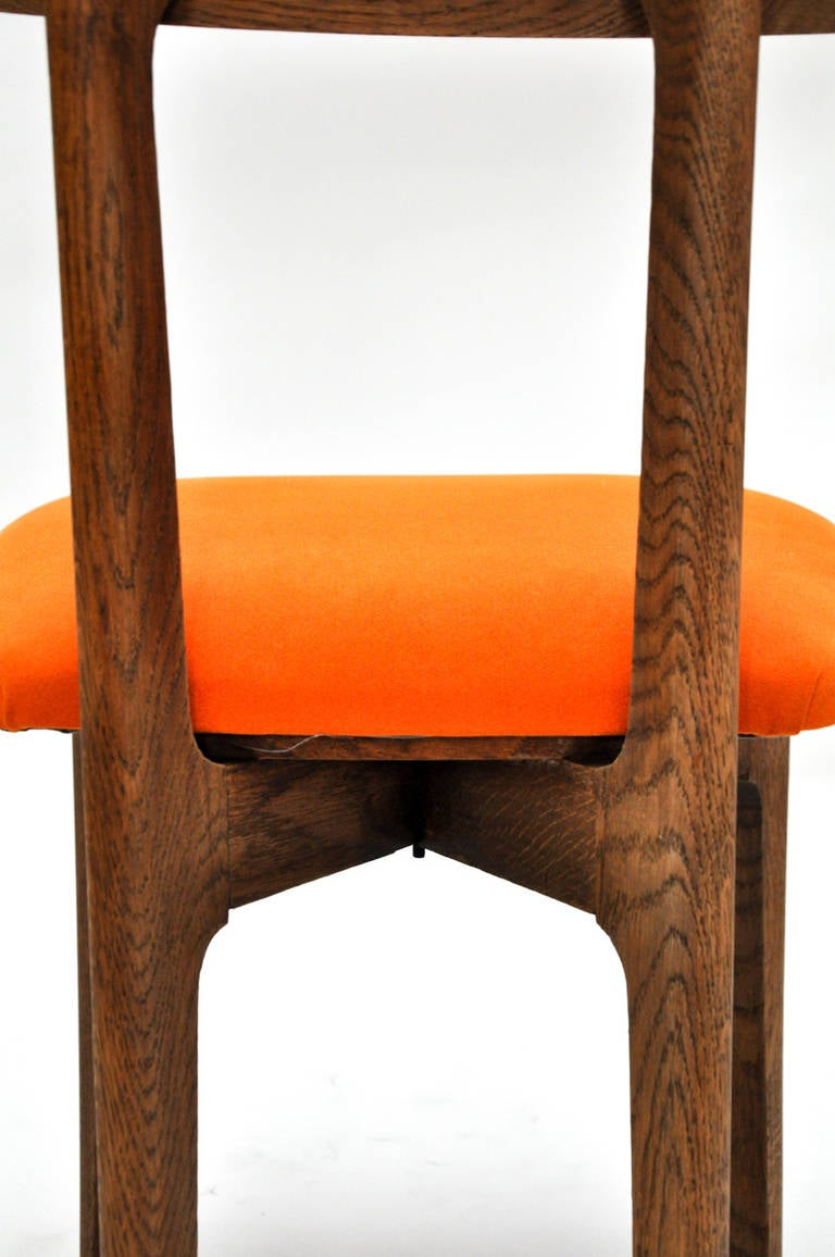 Set of Six Cerused Oak, Caned and Orange Mohair Dining Chairs In Excellent Condition For Sale In Chicago, IL