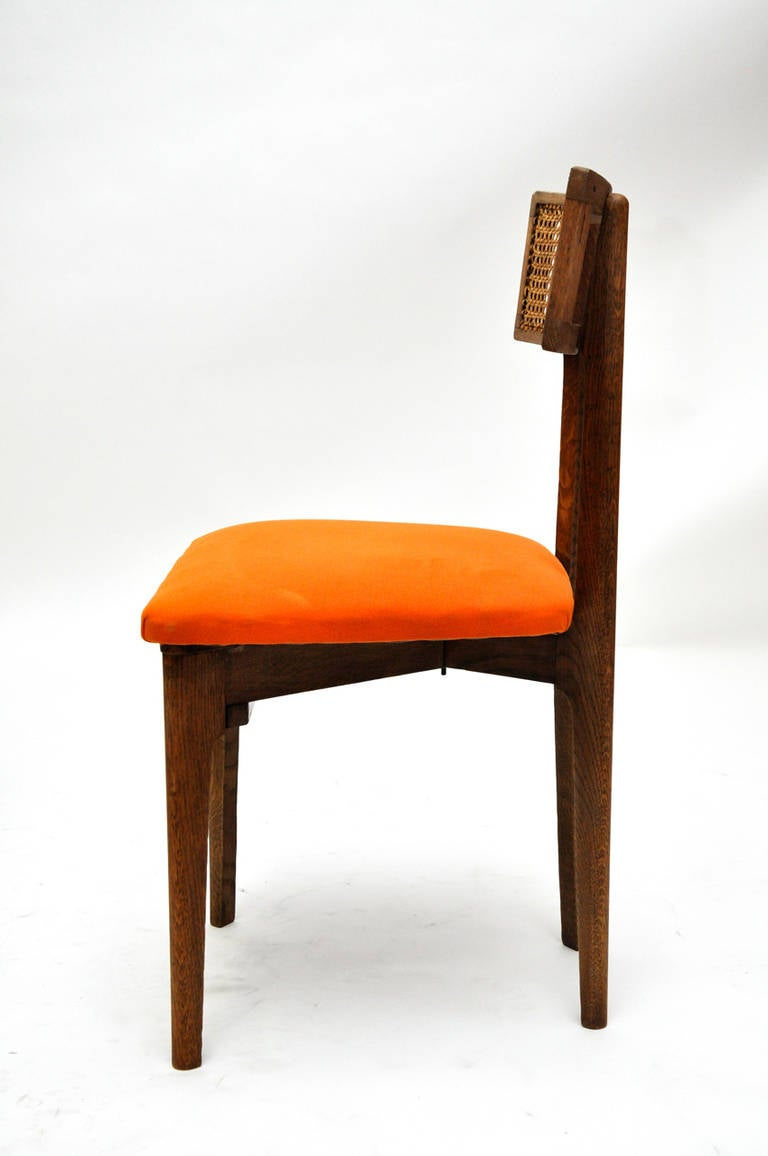 French Set of Six Cerused Oak, Caned and Orange Mohair Dining Chairs For Sale