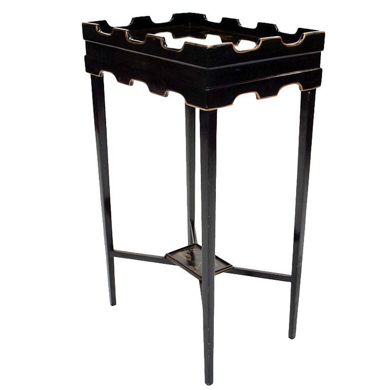 Beautiful black lacquered and gilt decorated tray top side for Beautiful end tables