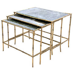 Set of Three 1960s Bamboo Brass Nesting Tables in the Manner of Bagues