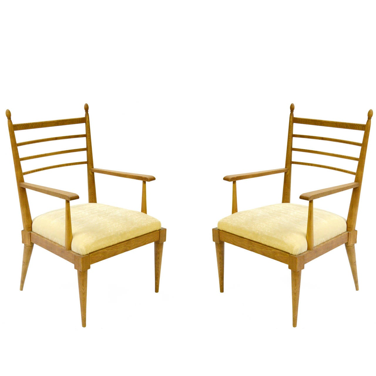 Pair of Vintage Oak Armchairs by Jean Royère For Sale