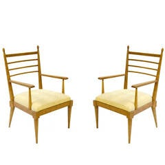 Pair of Vintage Oak Armchairs by Jean Royère