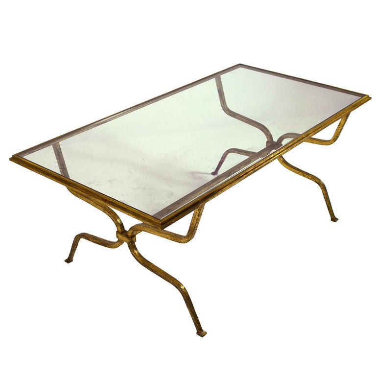 Spectactular Gilt Iron And Glass Coffee Table Attrib To Ramsay At 1stdibs