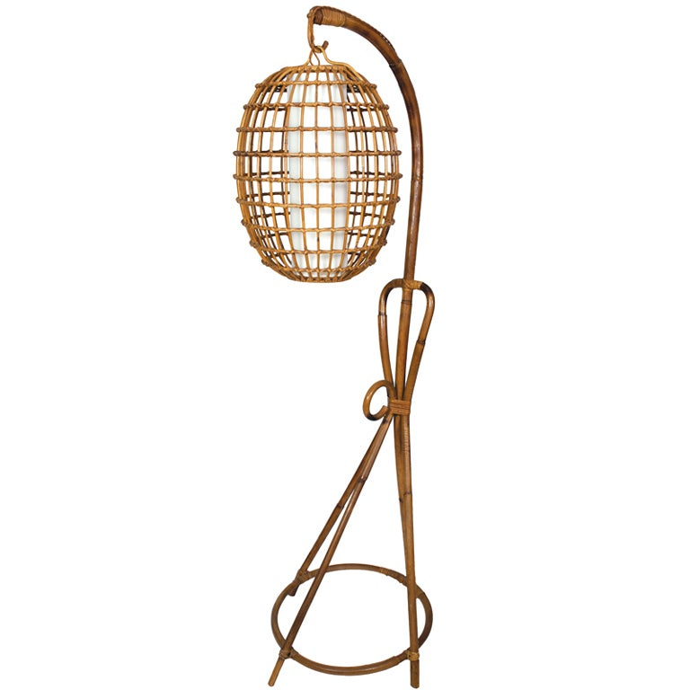 Superior Vintage Wicker Floor Lamp With Hanging Shade 1