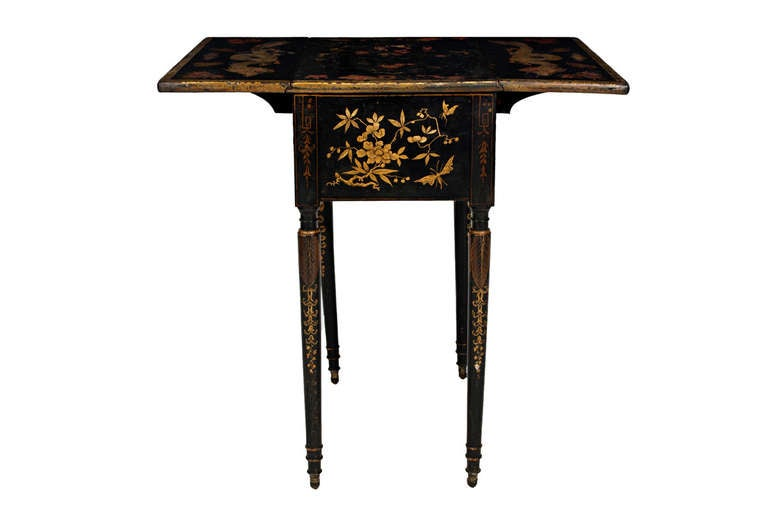 19th Century Regency Black Japanned, Drop-Leaf Side Table 4