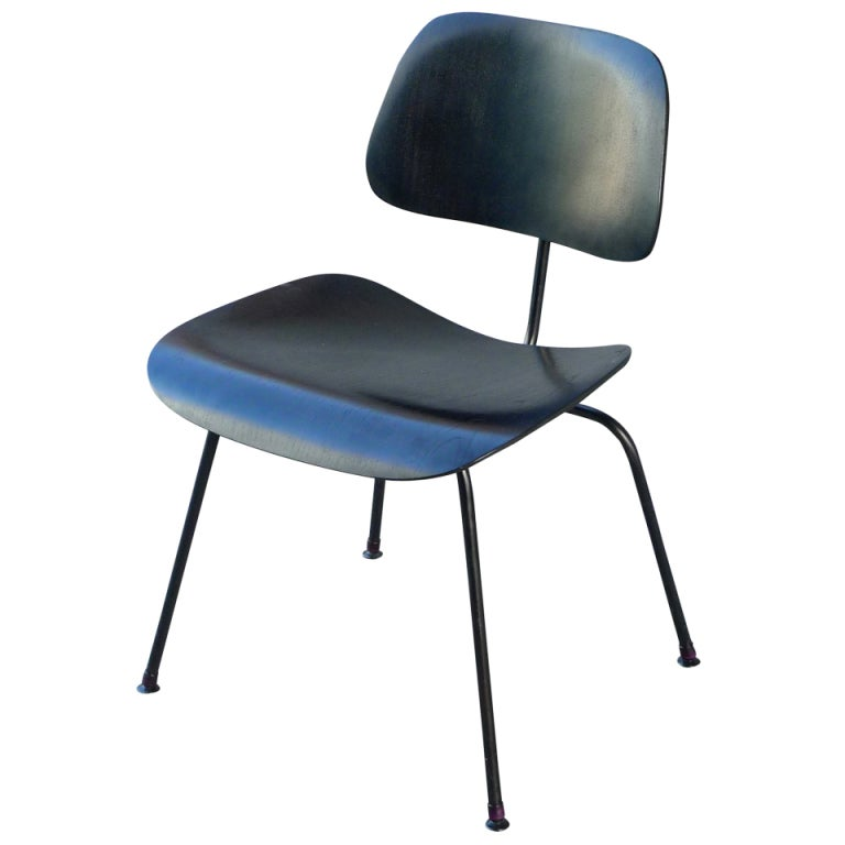Charles Eames AllBlack Vintage DCM Chair at 1stdibs