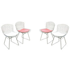 Harry Bertoia for Knoll Set of Chrome Wire Dining chairs
