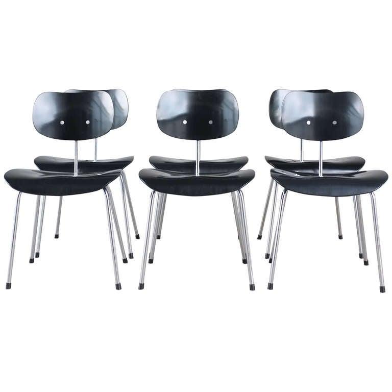 egon eiermann dining chair set at 1stdibs. Black Bedroom Furniture Sets. Home Design Ideas