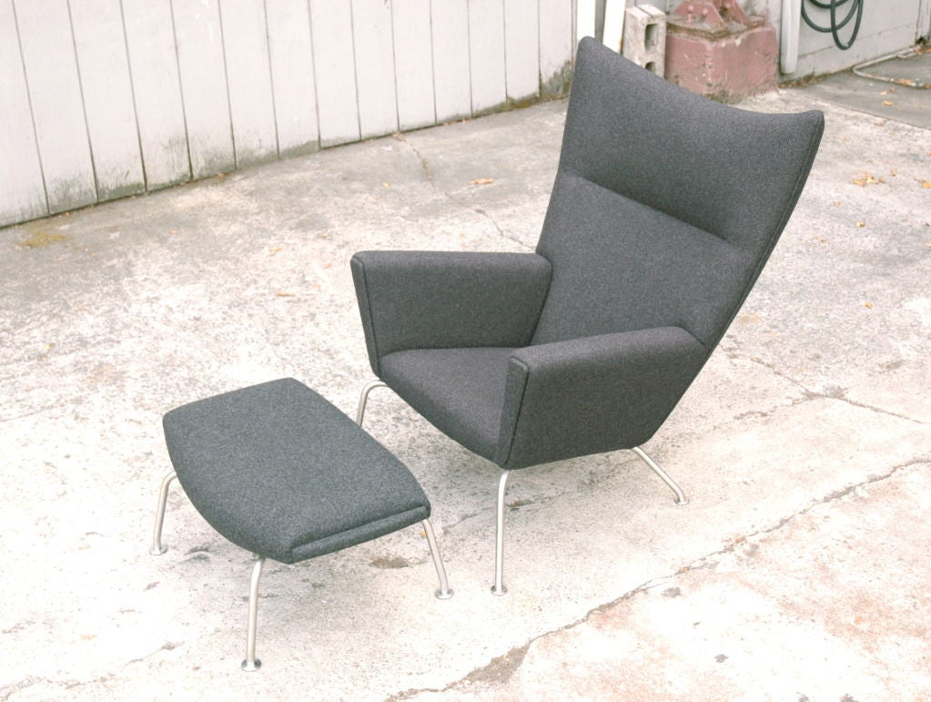 Hans Wegner Wing Chair And Ox Chair Ottoman For Sale At 1stdibs