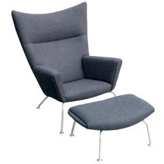 Hans Wegner Wing Chair & Ox Chair Ottoman