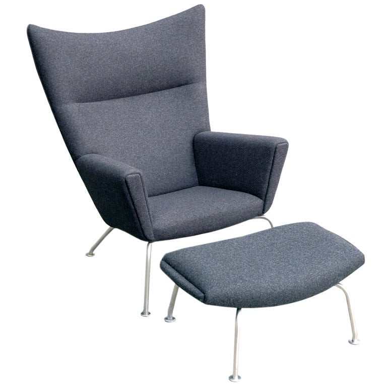 Hans Wegner Wing Chair And Ox Chair Ottoman At 1stdibs