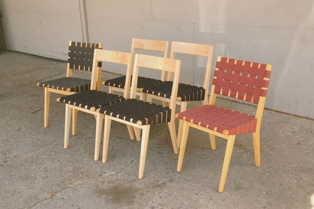 Jens risom set 6 webbed dining chairs for knoll 1941 at 1stdibs - Jens risom dining chairs ...