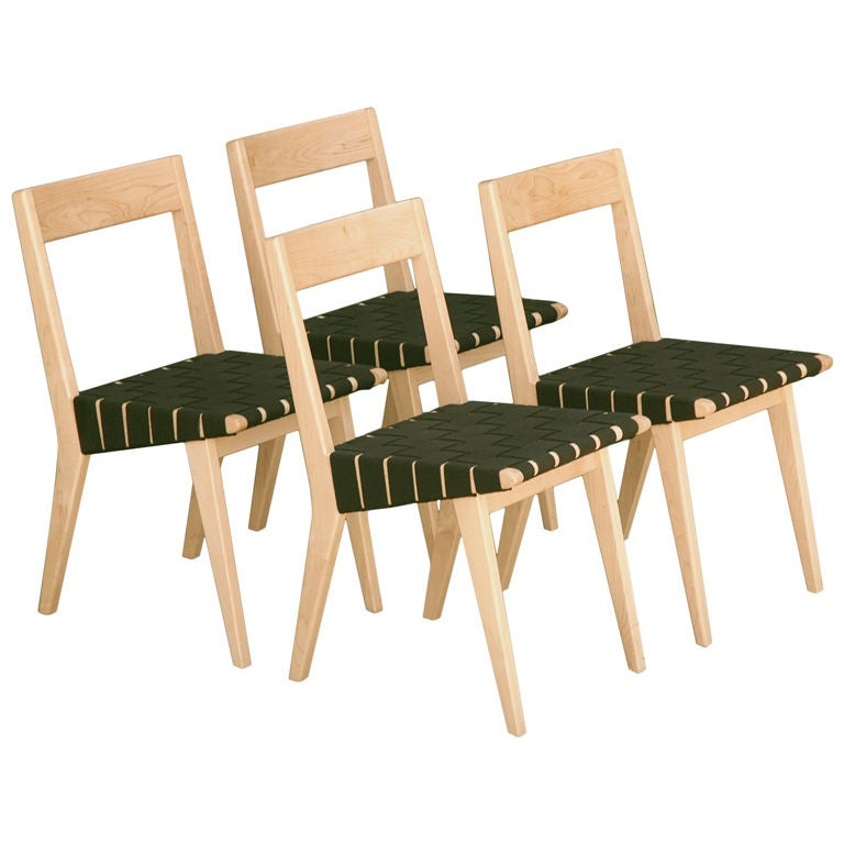 Jens Risom Set of 4 Webbed Dining Chairs for Knoll at 1stdibs