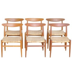 Hans Wegner Set of Six Heart Chairs for CM Madsens, 1953