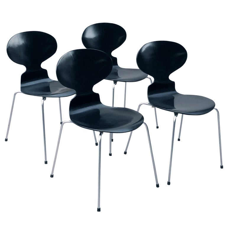 arne jacobsen set of four ant chairs at 1stdibs. Black Bedroom Furniture Sets. Home Design Ideas