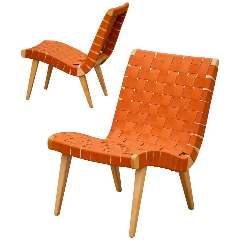 Jens Risom Pair of Webbed Lounge Chairs at 1stdibs