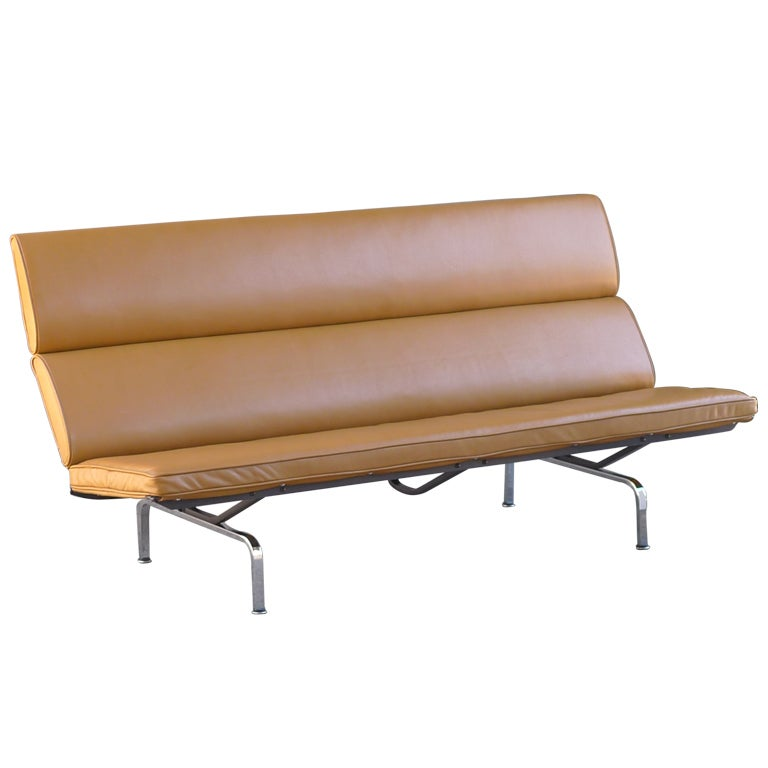 Charles Eames Leather Sofa Compact For Herman Miller