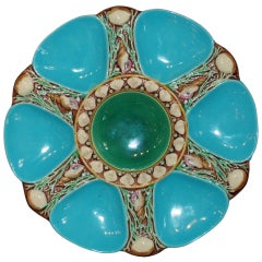Antique English Majolica Oyster plate