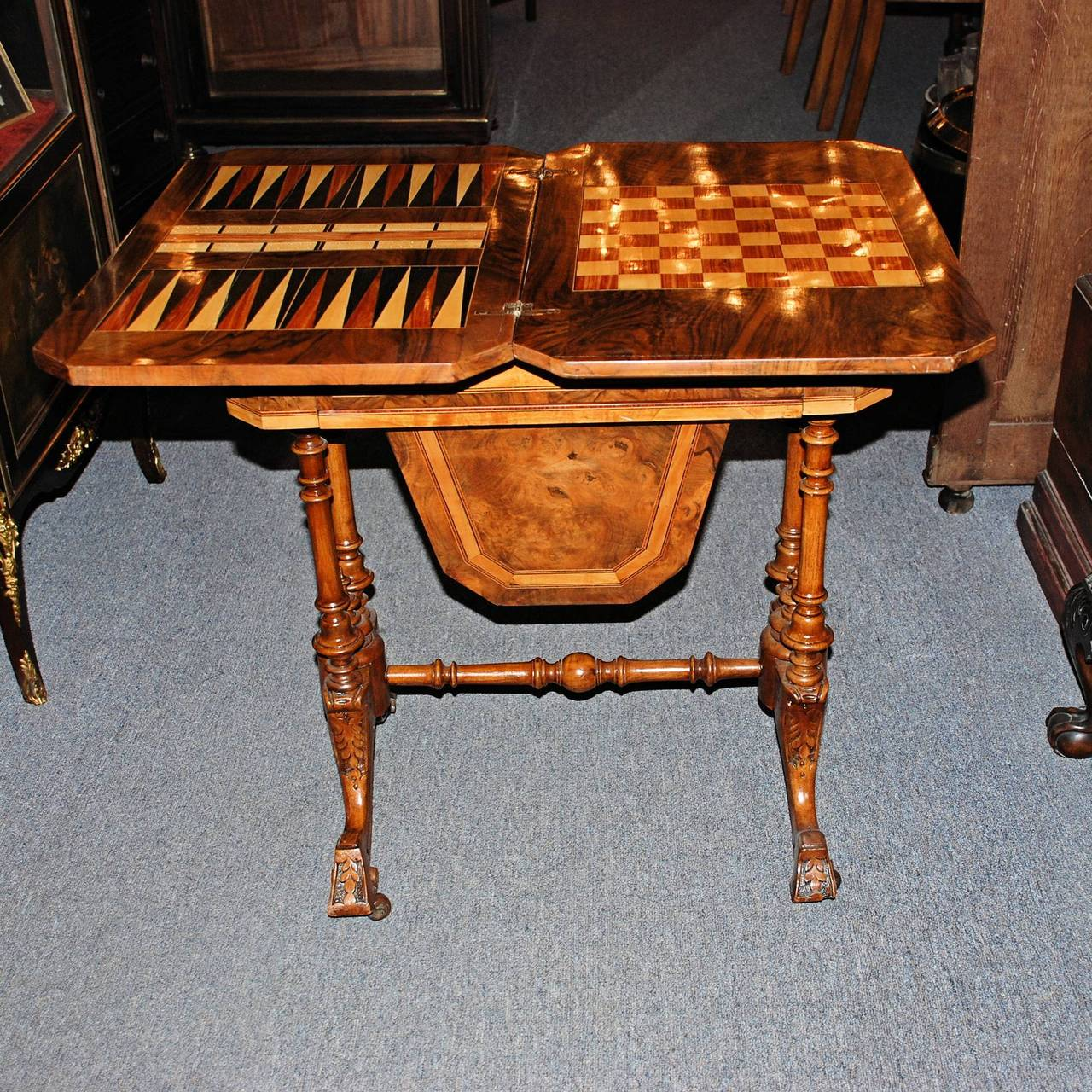 Antique English Victorian Burled Walnut Game Table For