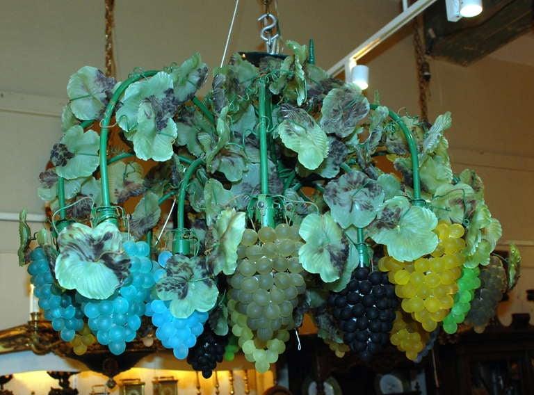 Venetian Art Glass Grape Clusters Chandelier Circa 1920
