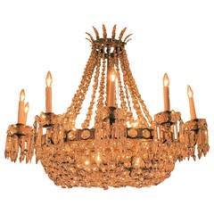 Estate French Bronze and Crystal Empire Style Chandelier