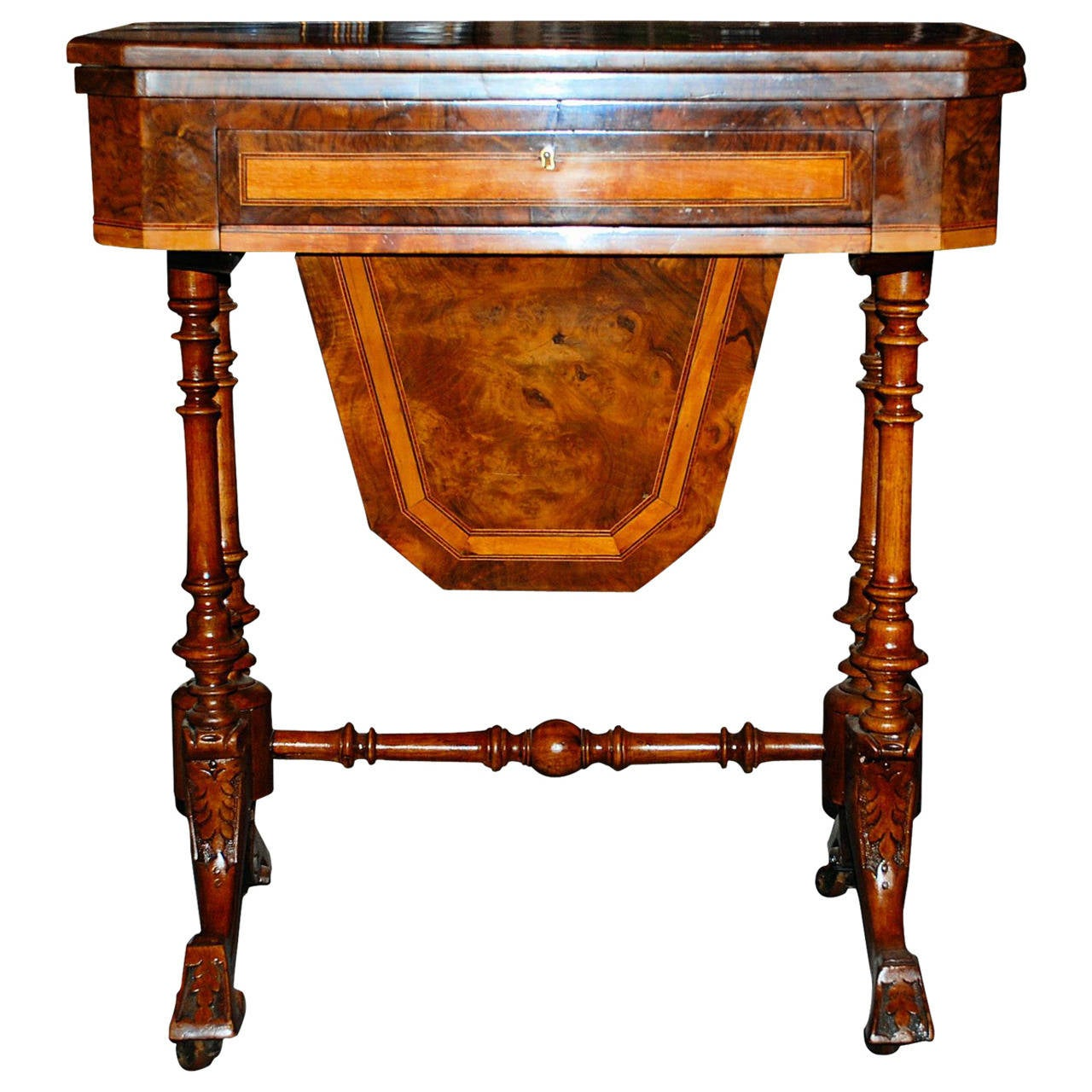 Antique English Victorian Burled Walnut Game Table 1
