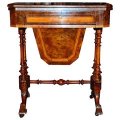 Antique English Victorian Burled Walnut Game Table