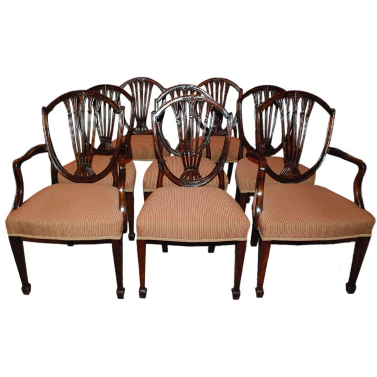Set of 8 antique english hepplewhite dining chairs at 1stdibs for Hepplewhite bedrooms