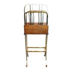 Antique English Oak And Brass Magazine Rack