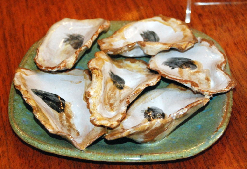 Hand Made Stoneware Oyster Plates By Local New Orleans