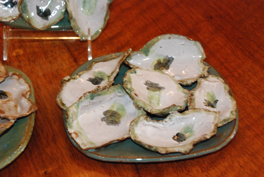 Hand made stoneware oyster plates by local New Orleans artist For Sale 1